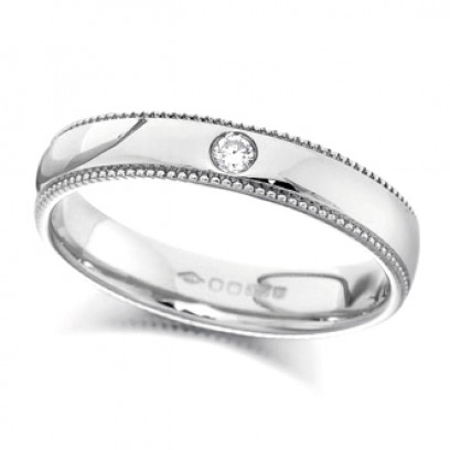 9ct White Gold Ladies 4mm Wedding Ring Set with Single 2pt Diamond and with Beaded Edges
