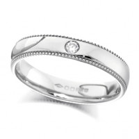 18ct White Gold Ladies 4mm Wedding Ring Set with Single 2pt Diamond and with Beaded Edges