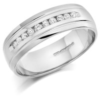 9ct White Gold Gents 7mm Wedding Ring with 10 Channel Set Diamonds and Grooved Edges Set with 0.30ct of Diamonds