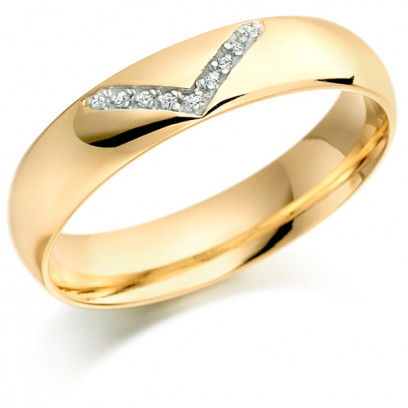 9ct Yellow Gold Gents 5mm Wedding Ring with Diamond V-Shape Pattern Set with 4.5pts of Diamonds