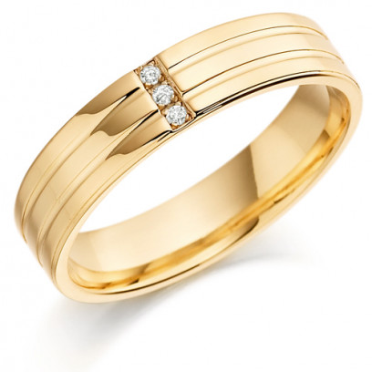 9ct Yellow Gold Gents 5mm Wedding Ring with 2 Parallel Grooves and Set with 3 Channel Set Diamonds Weighing a Total of 3pts