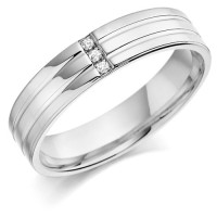 9ct White Gold Gents 5mm Wedding Ring with 2 Parallel Grooves and Set with 3 Channel Set Diamonds Weighing a Total of 3pts