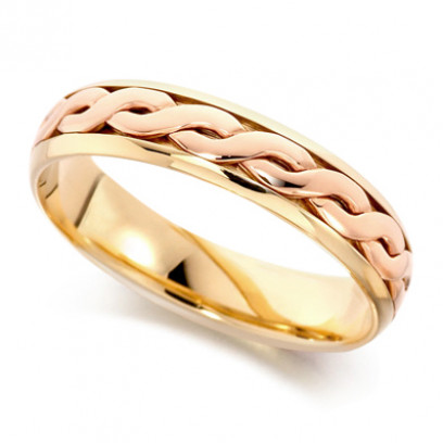 9ct Yellow and Rose Gold Gents 5mm Twisted Centre Wedding Ring with Plain Edges