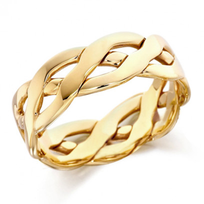 9ct Yellow Gold Gents 6mm Open Celtic Plait Wedding Ring