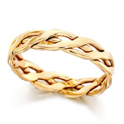 9ct Yellow Gold Ladies 4mm Open Celtic Plait Wedding Ring