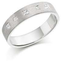Platinum Ladies 4mm Wedding Ring Set with 5 Princess Cut Diamonds, Total Weight 15pts