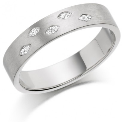 9ct White Gold Ladies 4mm Wedding Ring Set with 5 Marquise Diamonds, Total Weight 10pts