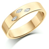 18ct Yellow Gold Ladies 4mm Wedding Ring Set with 3 Marquise Diamonds, Total Weight 6pts