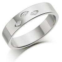 Platinum Ladies 4mm Wedding Ring Set with 3 Marquise Diamonds, Total Weight 6pts