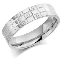 18ct White Gold Gents 5mm Chequer Pattern Wedding Ring Set with 5pts of Diamonds