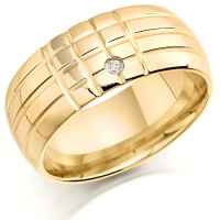 18ct Yellow Gold Ladies 8mm Chequerboard Pattern Wedding Ring Set with 1pt of Diamonds