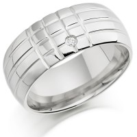 18ct White Gold Ladies 8mm Chequerboard Pattern Wedding Ring Set with 1pt of Diamonds