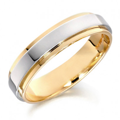 9ct Yellow and White Gold Gents 5mm Wedding Ring with Raised Centre