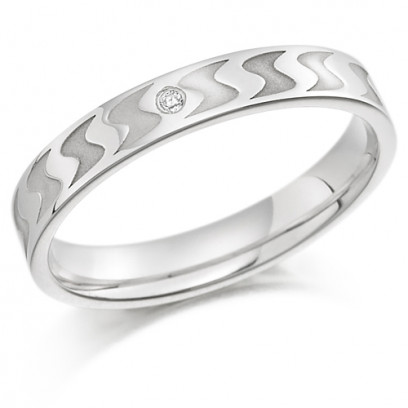 9ct White Gold Ladies 3mm Wedding Ring with Frosted S-Shape Pattern and Set with 1pt of Diamonds