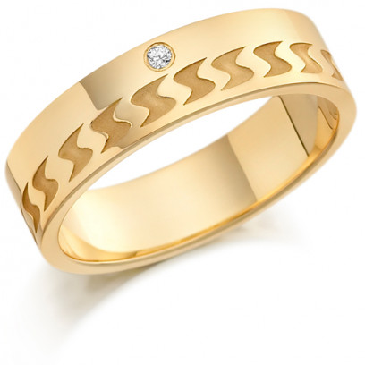 9ct Yellow Gold Gents 6mm Wedding Ring with Frosted S-Shape Pattern and Set with 3pts of Diamonds