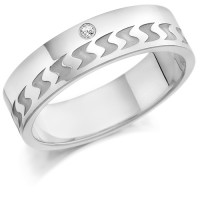 9ct White Gold Gents 6mm Wedding Ring with Frosted S-Shape Pattern and Set with 3pts of Diamonds