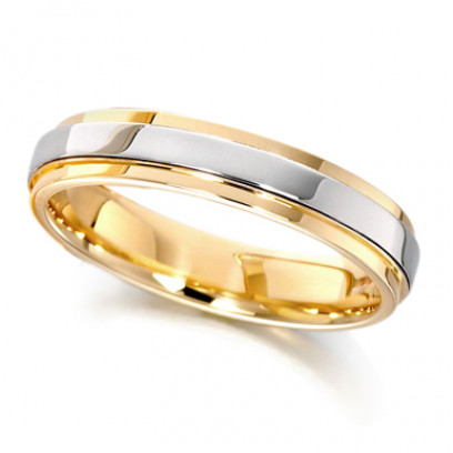 9ct Yellow and White Gold Ladies 4mm Wedding Ring with Raised Centre