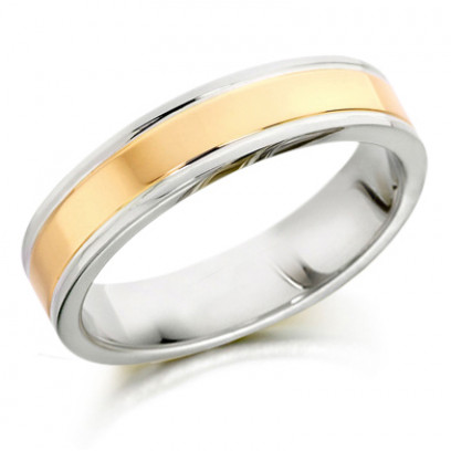 9ct Yellow and White Gold Gents 5mm Plain Wedding Ring