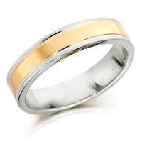 18ct Yellow and White Gold Gents 5mm Plain Wedding Ring