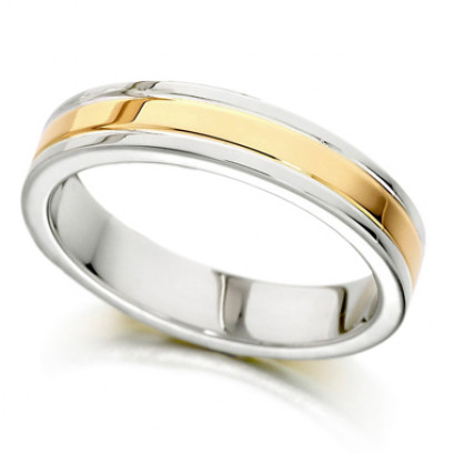 9ct Yellow and White Gold Ladies 4mm Plain Wedding Ring