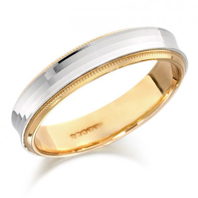 9ct Yellow and White Gold Gents 5mm Wedding Ring with Concave Centre
