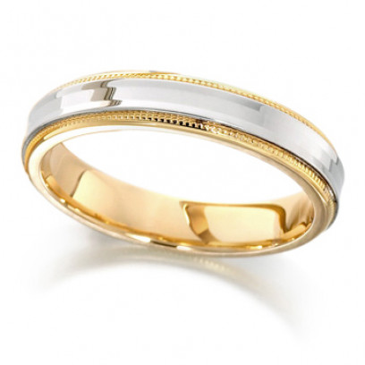 18ct Yellow and White Gold Ladies 4mm Wedding Ring with Concave Centre