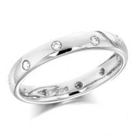 Platinum Ladies 3mm Wedding Ring with Alternate Set Diamonds All Around, Total Diamond Weight 15pts