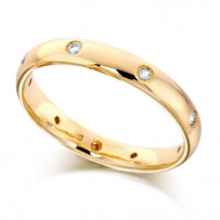 9ct Yellow Gold Ladies 3mm Wedding Ring with Diamonds Set Evenly Spaced All Around, Total Diamond Weight 12pts