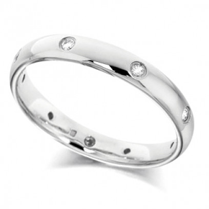 Platinum Ladies 3mm Wedding Ring with Diamonds Set Evenly Spaced All Around, Total Diamond Weight 12pts