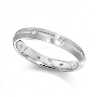 9ct White Gold Ladies 4mm Wedding Ring with Centre Groove and Diamonds Evenly Spaced All Around, Set with a Total of 12pts of Diamonds