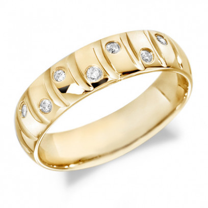9ct Yellow Gold Gents 6mm Wedding Ring with Curved Grooves and 14pts of Alternate Set Diamonds