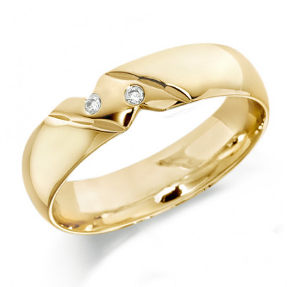 9ct Yellow Gold Gents 6mm Wedding Ring with Diagonal Pattern and Set with 2 Diamonds, Total Weight 4pts
