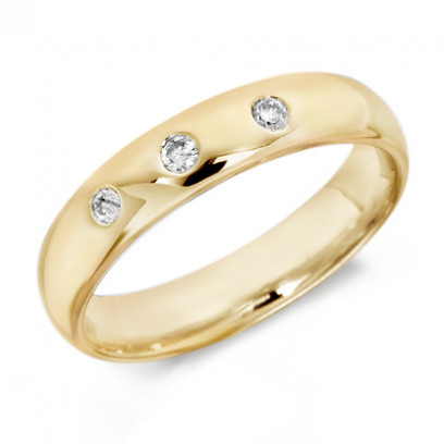 9ct Yellow Gold Gents 5mm Wedding Ring Set with 3 Diamonds, Total Weight 0.15ct