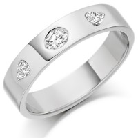 18ct White Gold Ladies 4mm Wedding Ring Set with Oval and Pear Shape Diamonds, Total Weight 0.26ct
