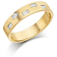 9ct Yellow Gold Ladies 4mm Wedding Ring Set with 5 Baguette Diamonds, Total Weight 20pts