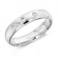 9ct White Gold Gents 5mm Wedding Ring Set with 3 Diamonds, Total Weight 0.15ct