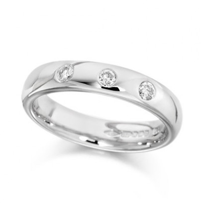 9ct White Gold Ladies 4mm Wedding Ring Set with 3 Diamonds, Total Weight 0.15ct