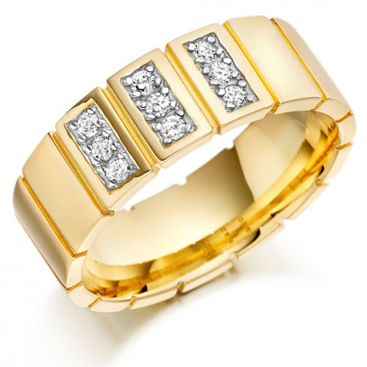 9ct Yellow Gold Gents 8mm Wedding Ring with Vertical Cuts All Around and Set with 0.27ct of Diamonds in 3 Panels