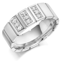 9ct White Gold Gents 8mm Wedding Ring with Vertical Cuts All Around and Set with 0.27ct of Diamonds in 3 Panels