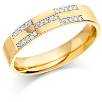 9ct Yellow Gold Ladies 4mm Wedding Ring Set with 12pts of Diamonds in X-Shape Pattern