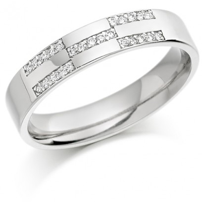 9ct White Gold Ladies 4mm Wedding Ring Set with 12pts of Diamonds in X-Shape Pattern