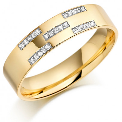 9ct Yellow Gold Gents 5mm Wedding Ring Set with 12pts of Diamonds in X-Shape Pattern