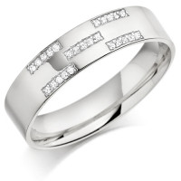 9ct White Gold Gents 5mm Wedding Ring Set with 12pts of Diamonds in X-Shape Pattern