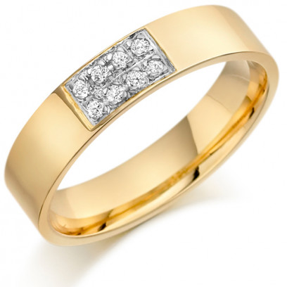 9ct Yellow Gold Gents 5mm Wedding Ring Set with 12pts of Diamonds in a Rectangular Box