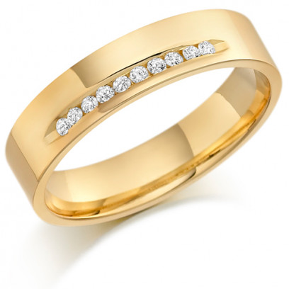 9ct Yellow Gold Gents 5mm Wedding Ring with 15pts of Diamonds Channel Set on One Side