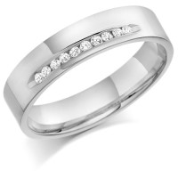 9ct White Gold Gents 5mm Wedding Ring with 15pts of Diamonds Channel Set on One Side