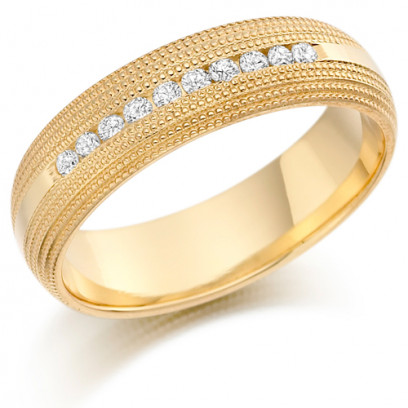 9ct Yellow Gold Gents 6mm Wedding Ring with 0.30ct of Channel Set Diamonds with Beaded Edge Pattern