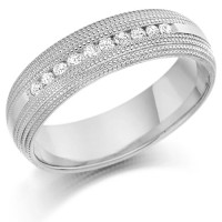 9ct White Gold Gents 6mm Wedding Ring with 0.30ct of Channel Set Diamonds with Beaded Edge Pattern