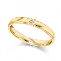 18ct Yellow Gold Ladies 3mm Wedding Ring with Beaded Edges and Set with Single 1pt Diamond