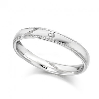 18ct White Gold Ladies 3mm Wedding Ring with Beaded Edges and Set with Single 1pt Diamond